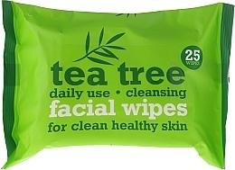Парфюмерия и Козметика Почистващи кърпички за лице, 25 бр. - Xpel Marketing Ltd Tea Tree Facial Wipes For Clean Healthy Skin