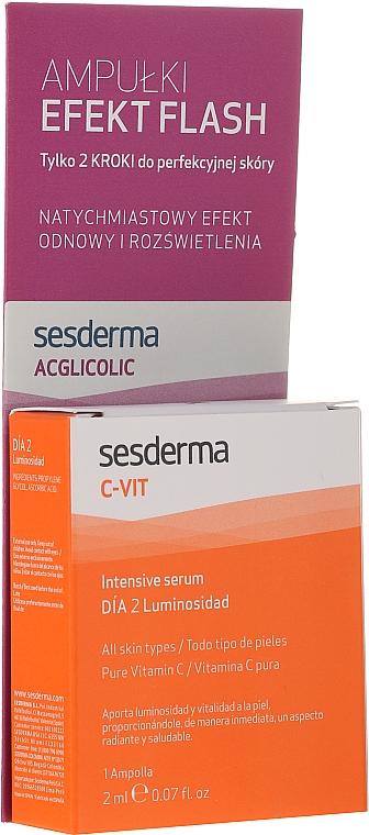 Комплект с интензивен серум и ампули с гликолова киселина - SesDerma Laboratories Efekt Flash (serum/2ml + serum/2ml)
