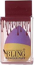 Парфюмерия и Козметика Гъба за грим, лилаво-жълта - Bling Powder Puff