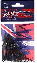 Парфюми, Парфюмерия, козметика Фиби, черни 60 мм, 24 бр. - Ronney Black Hair Bobby Pins