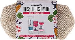 Парфюми, Парфюмерия, козметика Комплект - Schmidt's Blissful Discovery (паста за зъби/100ml + део/58ml + сапун/142g + козм. чанта)