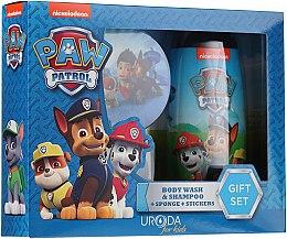 Парфюмерия и Козметика Детски комплект - Uroda Paw Patrol Boy (шамп./душ гел/250ml + гъба + стикери)
