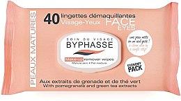 Парфюмерия и Козметика Почистващи кърпички за грим, за зряла кожа - Byphasse Make-up Remover Pomegranate Extract And Green Tea