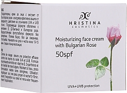 Парфюмерия и Козметика Хидратиращ крем за лице SPF50 - Hristina Cosmetics Moisturizing Face Cream With Bulgarian Rose SPF50