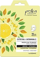 Парфюмерия и Козметика Памучна маска за лице с лимон - Polka Lemon And Vitamin C Facial Sheet Mask