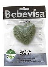 """Парфюмерия и Козметика Гъба за измиване, сърце """"Зелен чай"""" - Bebevisa Konjac Sponge"""