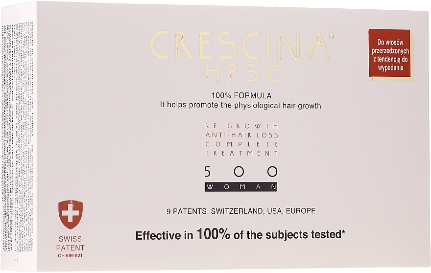 Ампули за възстановяване на растежа на косата за жени - Crescina HFSC Re-Growth Anti-hair Loss 500 — снимка N1