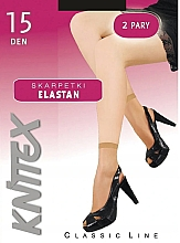 """Парфюмерия и Козметика Къси дамски чорапи """"Elastan"""" 15 Den, 2 чифта, Nero - Knittex"""