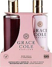 Парфюмерия и Козметика Комплект за тяло - Grace Cole Warm Vanilla & Sandalwood (душ гел/300ml + лосион/300ml)