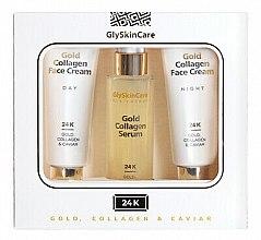 Парфюмерия и Козметика Комплект за лице - GlySkinCare Gold Collagen (крем/2x50ml + серум/50ml)