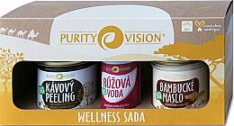 Парфюмерия и Козметика Комплект за тяло - Purity Vision Bio Wellness (пилинг/110g + масло/120ml + розова вода/50ml)