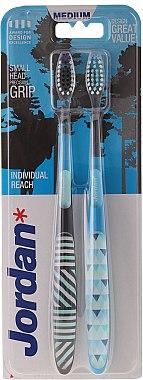 Комплект четки за зъби средно твърди, черна+синя - Jordan Individual Reach Medium