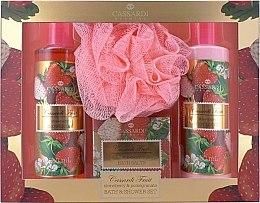 Парфюми, Парфюмерия, козметика Комплект - Cassardi Fruit Strawberry And Pomegranate (лосион за тяло/250ml + душ гел/250ml + соли за вана/100g + гъба за баня)