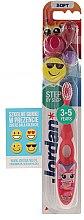 Парфюми, Парфюмерия, козметика Детска четка за зъби Step 2 (3-5 год.) мека, розова, усмивка с очила - Jordan