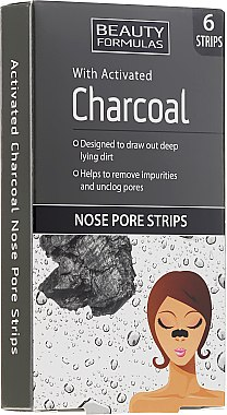 Почистващи лепенки за нос с активен въглен - Beauty Formulas With Activated Charcoal Nose Pore Strips