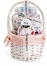 Парфюмерия и Козметика Комплект за тяло - IDC Institute Vintage Flowers Basket (душ гел/160ml+лосион/50ml+соли за вана/100g+ бомбичка за вана/160ml)