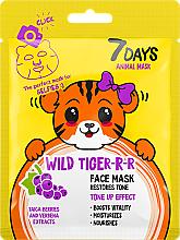 Парфюмерия и Козметика Маска за лице - 7 Days Animal Wild Tiger-r-r Face Mask