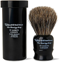 Парфюмерия и Козметика Четка за бръснене, 8,25 см, с калъф, черен - Taylor of Old Bond Street Shaving Brush Pure Badger