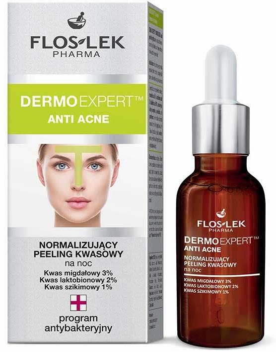 Нормализиращ нощен пилинг - Floslek Dermo Expert Anti Acne Peeling