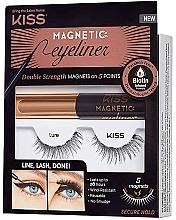 Парфюмерия и Козметика Комплект - Kiss Magnetic Eyeliner & Lash Kit Lure (очна линия/5g + изкуствени мигли)