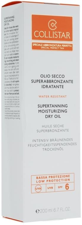 Сухо масло за интензивен тен - Collistar Supertanning Moisturizing Dry Oil SPF6 200ml — снимка N3