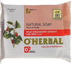 Парфюми, Парфюмерия, козметика Натурален сапун с екстракт от диви ягоди и червена глина - O'Herbal Natural Soap