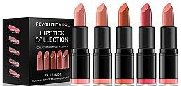 Парфюми, Парфюмерия, козметика Комплект червило за устни - Revolution Pro 5 Lipstick Collection Matte Nude