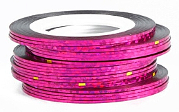 Парфюмерия и Козметика Декоративна холографска лента за нокти, розова - Deni Carte
