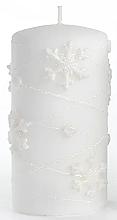 Парфюмерия и Козметика Декоративна свещ, бяла, 7х18см - Artman Snowflake Application