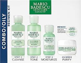Парфюмерия и Козметика Комплект за лице - Mario Badescu Combo Oily Regimen Kit (почист. гел/59ml+ почист. лосион/59ml+крем/29ml+маска/14g+нощен крем/3g)