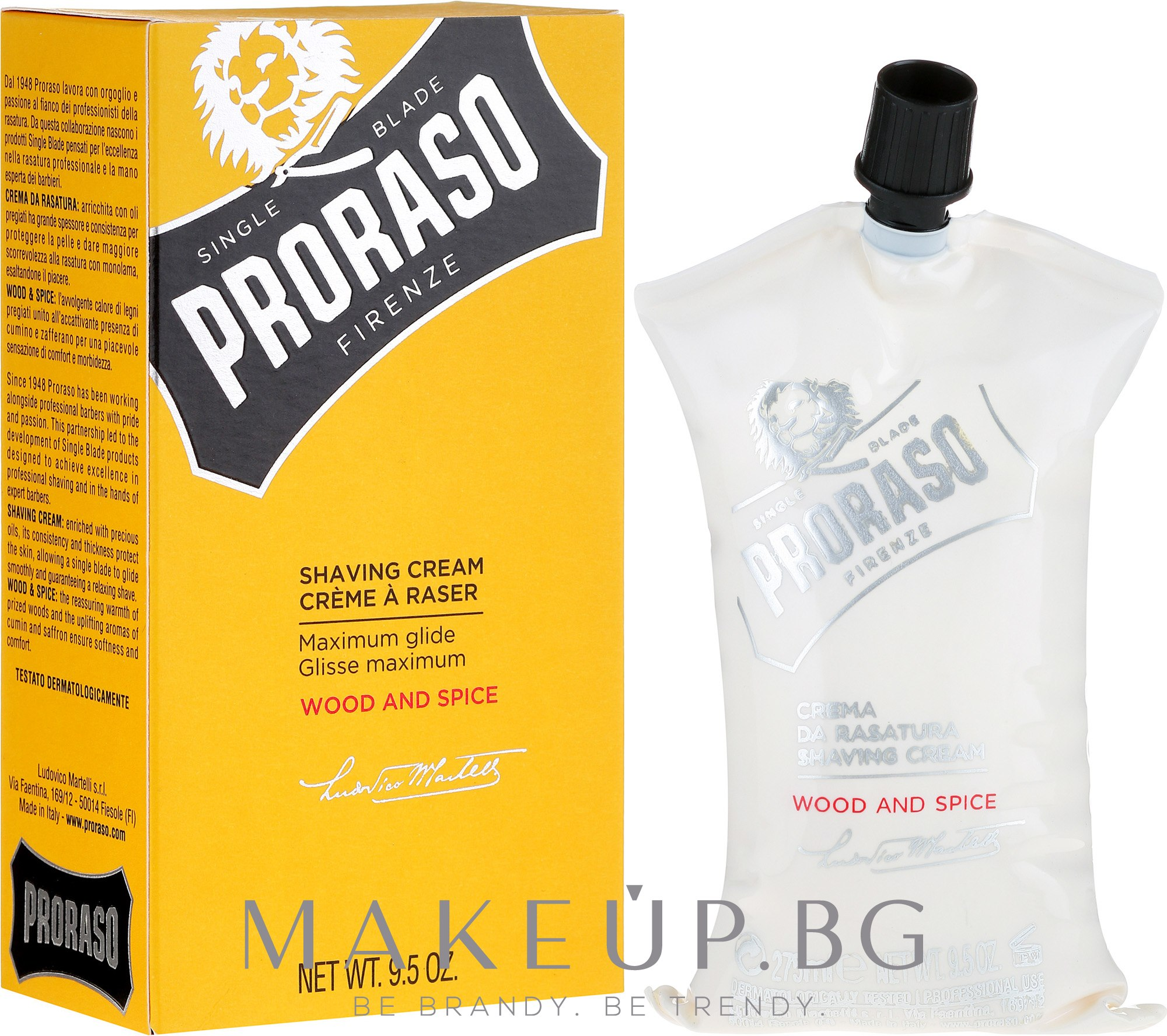 Крем за бръснене - Proraso Wood and Spice Shaving Cream — снимка 275 ml