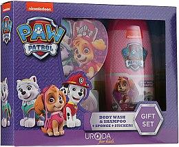 Парфюмерия и Козметика Детски комплект - Uroda Paw Patrol Girl (шамп./душ гел/250ml + гъба + стикери)