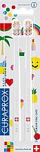 Парфюмерия и Козметика Комплект четки за зъби, бели - Curaprox Ultra Soft Pop Art Edition