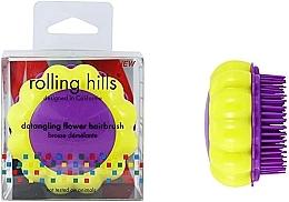 """Парфюмерия и Козметика Компактна четка за коса """"Маргаритка"""", жълто-лилава - Rolling Hills Brosse Desenredar Flower"""