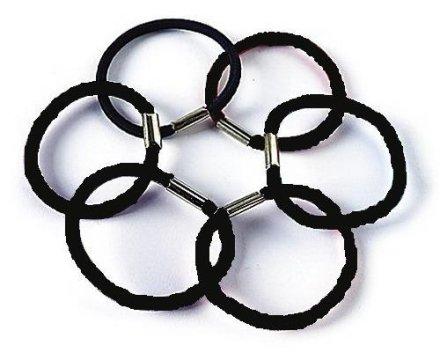 Ластици за коса, черни FA-9863, 6 бр. - Donegal — снимка N1