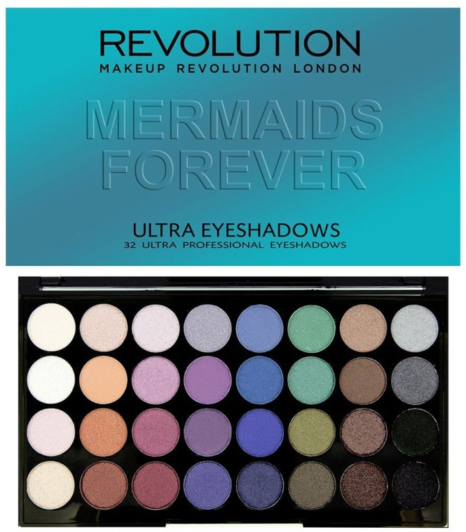 Палитра сенки за очи, 32 цвята - Makeup Revolution Ultra 32 Shade Palette Mermaids Forever