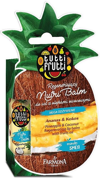 Балсам за устни с аромат на ананас и кокос - Farmona Tutti Frutti Regenerating Lip Balm Pineapple & Coconut