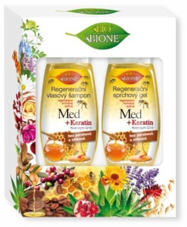Комплект - Bione Cosmetics Honey + Q10 (шампоан/260ml+душ гел/300ml)