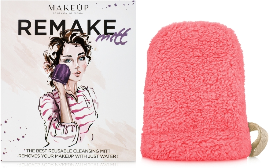 "Ръкавица за почистване на грим, коралова ""ReMake"" - MakeUp"