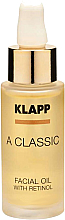 Парфюмерия и Козметика Масло за лице с ретинол - Klapp A Classic Facial Oil With Retinol