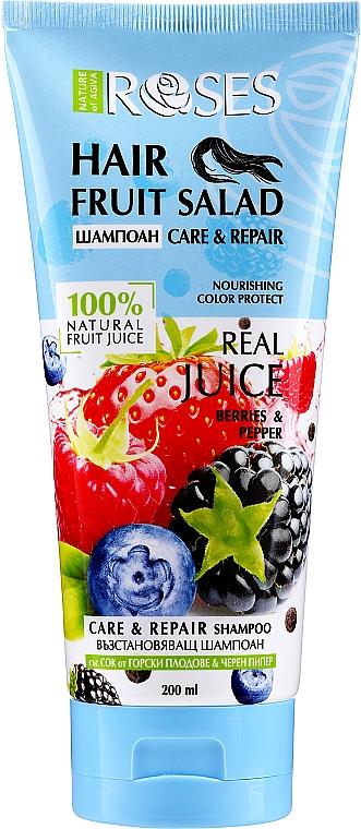 Възстановяващ шампоан за коса със сок от горски плодове и черен пипер - Nature of Agiva Roses Hair Fruit Salad Shampoo