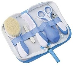 Парфюмерия и Козметика Детски комплект грижа за коса и нокти 0м+, синьо - Nuvita