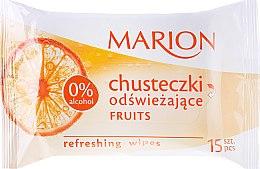 """Парфюми, Парфюмерия, козметика Освежаващи мокри кърпички """"Fruits"""", 15бр - Marion"""