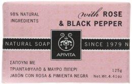 """Парфюмерия и Козметика Сапун """"Роза и черен пипер"""" - Apivita Soap with Rose and Black pepper"""