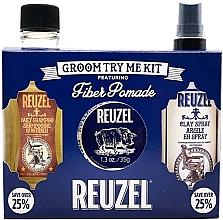 Парфюмерия и Козметика Комплект за коса - Reuzel Fiber Try Me Kit (помада/35g + спрей/100ml + шамп./100ml)