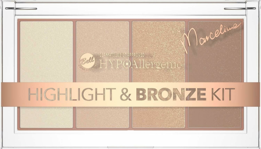 Палитра хайлайтъри и бронзанти за лице - Bell HYPOAllergenic Highlight & Bronze Kit by Marcelina