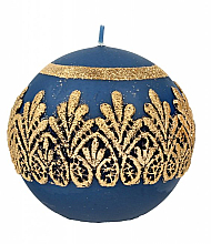 Парфюмерия и Козметика Декоративна свещ, топка, синя, 10 см - Artman Koronka Lace Christmas
