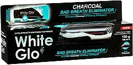 Парфюмерия и Козметика Комплект за зъби - White Glo Charcoal Bad Breath Eliminator (паста/100ml + черно-бяла четка/1 бр.)