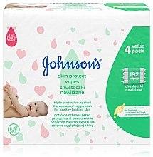 Парфюмерия и Козметика Детски мокри кърпички с тройна защита, 192шт - Johnson's Baby