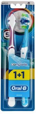 """Комплект четки з зъби """"Петстранно почистващ комплект"""", 40 средна твърдост, виолетова+синя - Oral-B Bomplete 5 Way Clean — снимка N1"""